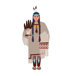 American indian woman with braids or squaw wearing vector