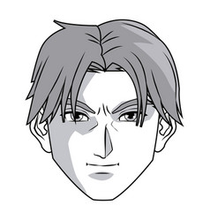 Anime style male character head vector