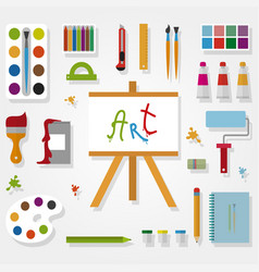 art accessories in flat style on gray background vector image