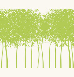background with silhouettes young green trees vector image