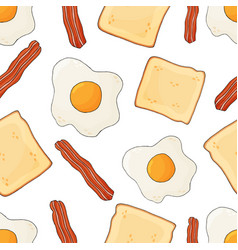 Bacon scrambled eggs and toast seamless pattern vector