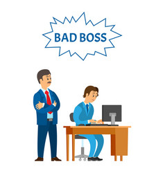 bad boss leader of company and worker vector image