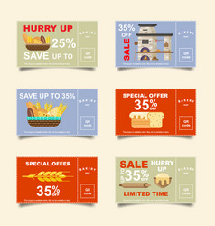 bakery bakery bread discount cards vector image