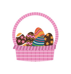 basket egg easter celebration ornament vector image