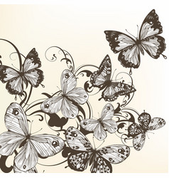 Beautiful background with monochromic butterflies vector