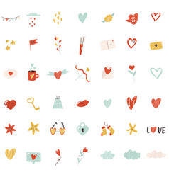 big set colorful icons for st valentines day vector image