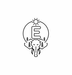 Black line art elephant head with e initial vector