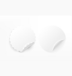 blank paper round stickers collection isolated on vector image
