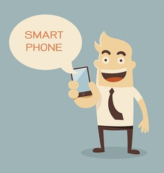 Businessman cartoon holding smart phone vector