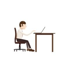 Businessman working on laptop icon cartoon style vector image