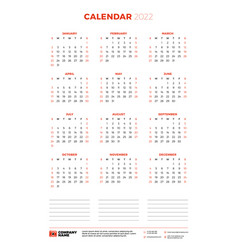 Calendar for 2022 year week starts on sunday vector