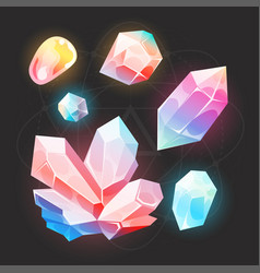 Cartoon fairy gems and diamonds icons set vector