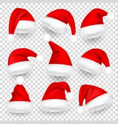 christmas santa claus hats with fur and shadow set vector image