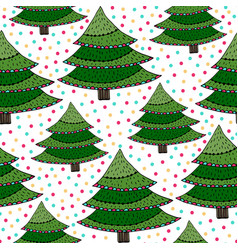 Christmas trees seamless pattern green wrapping vector