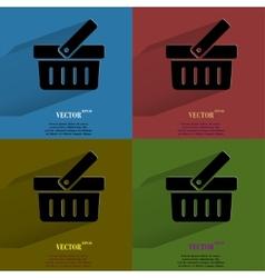 Color set Shopping basket Flat modern web button vector image