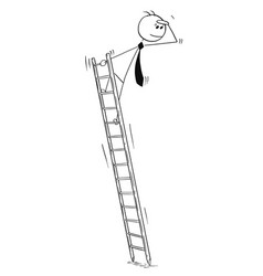 conceptual cartoon of business man on ladder vector image