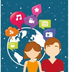 Couple world communication social media vector