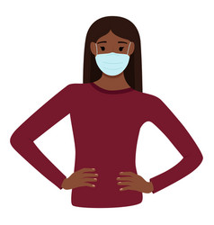 dark skinned woman in medical mask to protect vector image