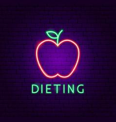 dieting food neon label vector image