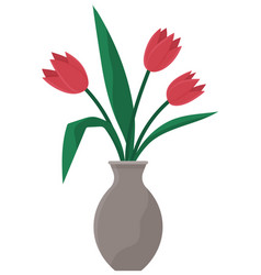different colors tulips spring bouquet in glass vector image