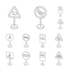 Different types of road signs outline icons in set vector