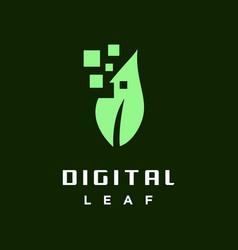 digital leaf logo vector image
