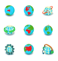 earth is round icons set isometric style vector image