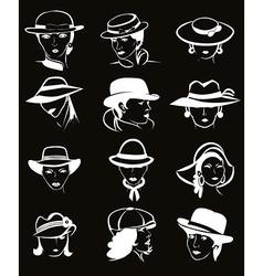 Female hats set vector image