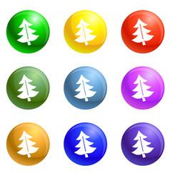 fir tree icons set vector image
