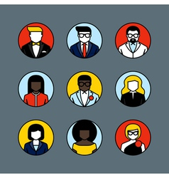 Flat line avatars Male and female user icons vector image vector image