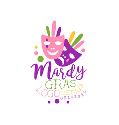 flat style colorful logo template for mardi gras vector image