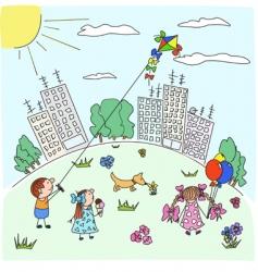 Flight of a kite vector