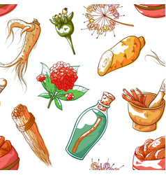 ginseng hand drawn colorful seamless pattern vector image