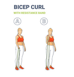 Girl doing bicep curl home workout exercise vector