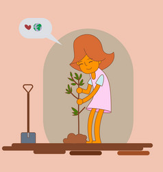 girl planting new tree vector image
