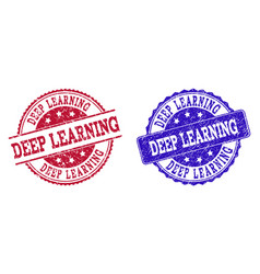 Grunge scratched deep learning stamp seals vector