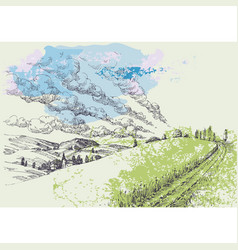 hand drawn landscape green hills and blue sky vector image