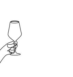 hand holding a wineglass continuous line one vector image