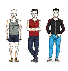 Handsome young men posing in stylish sportswear vector