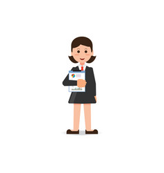 Happy business woman in suit standing with vector