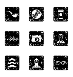 Hipsters icons set grunge style vector