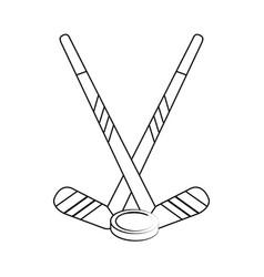hockey sticks and puck vector image