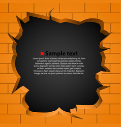 Hole in the broken wall vector