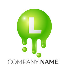 L letter splash green dots and bubbles letter vector