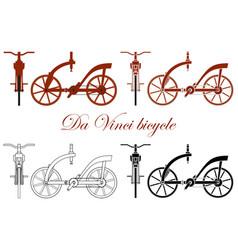 Leonardo da vinci wooden bike vector