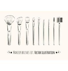 Makeup brushes kit vector image