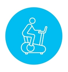 Man training on exercise bike line icon vector