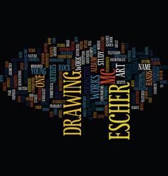 Mc escher text background word cloud concept vector