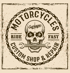Motorcycles custom shop vintage emblem with skull vector
