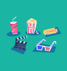 movie theater set with popcorn and soda vector image